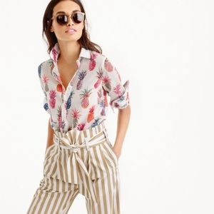 J. Crew pineapple Ratti Print popover tunic blouse